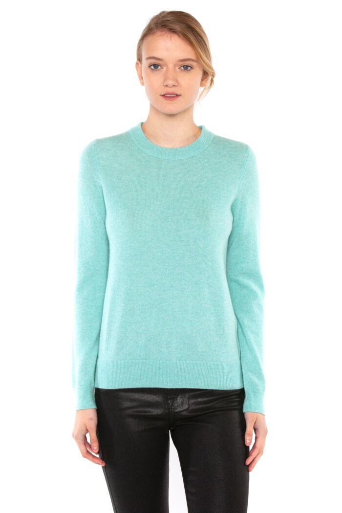 JENNIE LIU Women's 100% Pure Cashmere Long Sleeve Crew Neck Sweater(M