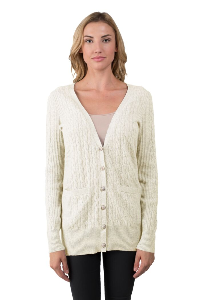 Cream Cashmere Cable-knit V-neck Long cardigan Sweater