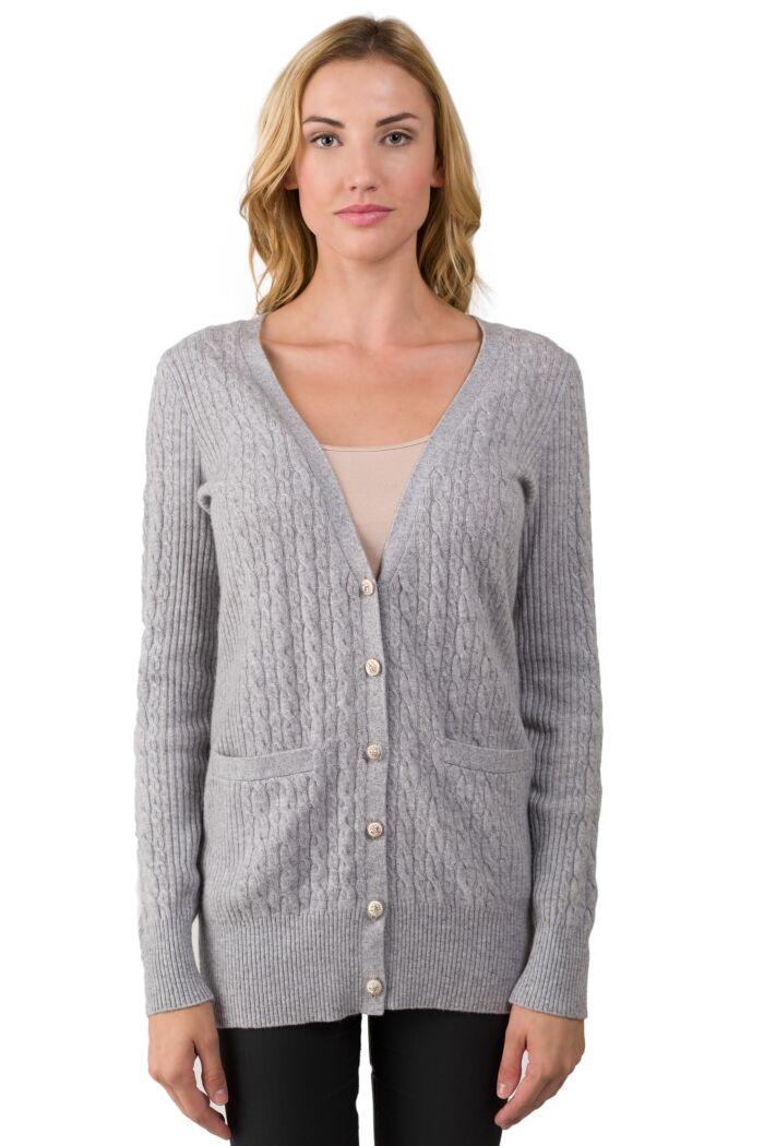 Grey Cashmere Cable-knit V-neck Long cardigan Sweater front view