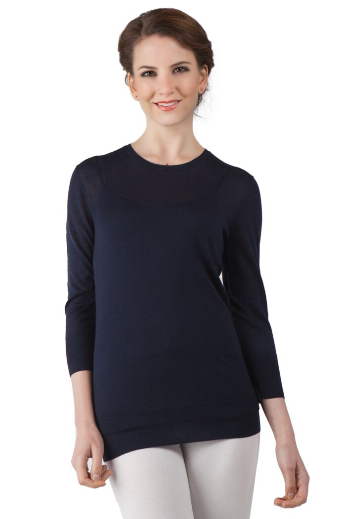 Navy Cashmere Silk Feather Weight Crew Neck 3/4 Sleeves Sweater Front View