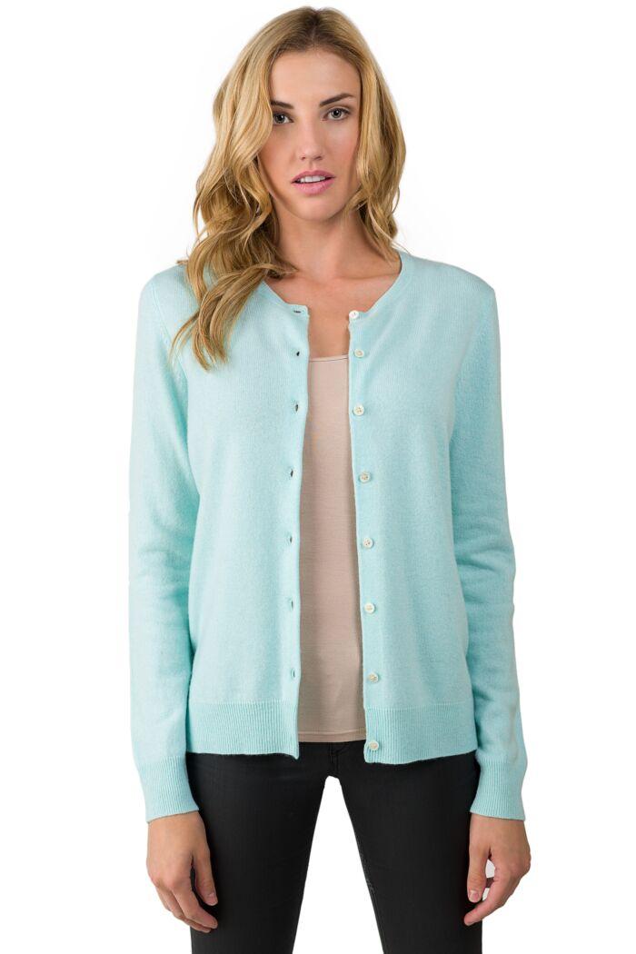 Aqua Blue Cashmere Button Front Cardigan Sweater front view