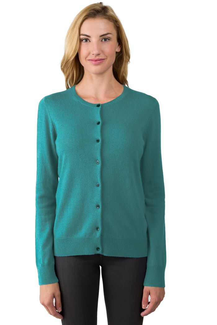 Aquamarine Cashmere Button Front Cardigan Sweater Front View