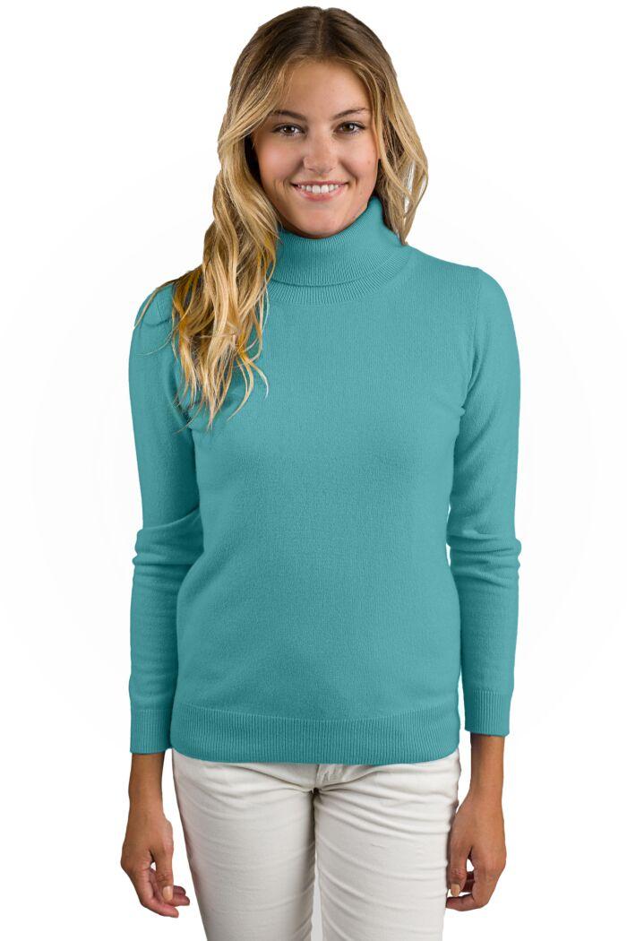 Aquamarine Cashmere Long Sleeve Turtleneck Sweater