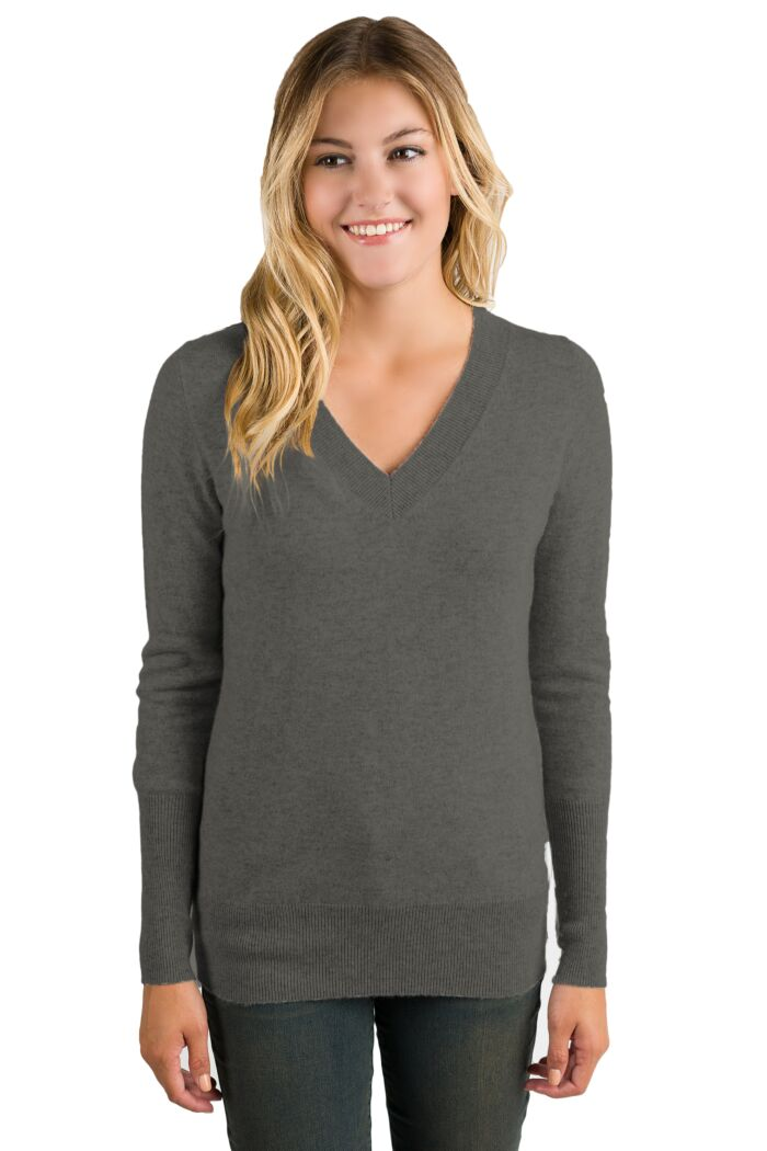 Charcoal Cashmere Long Sleeve Ava V Neck Sweater Front View