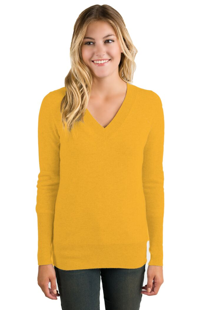 Mustard Cashmere Long Sleeve Ava V Neck Sweater Front View
