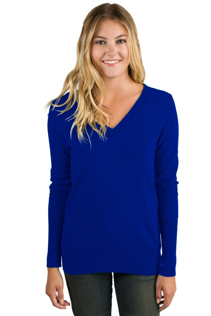 RoyalBlue Cashmere Long Sleeve Ava V Neck Sweater Front View