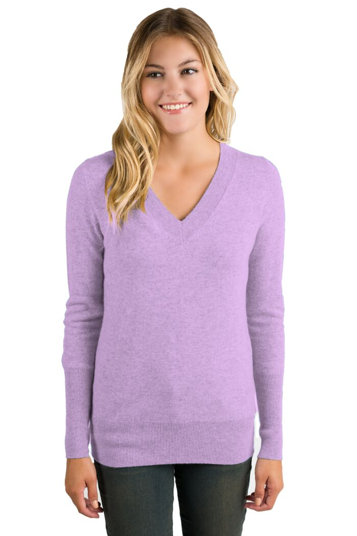 Wisteria Cashmere Long Sleeve Ava V Neck Sweater Front View