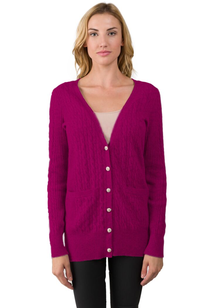Berry Cashmere Cable-knit V-neck Long cardigan Sweater front view