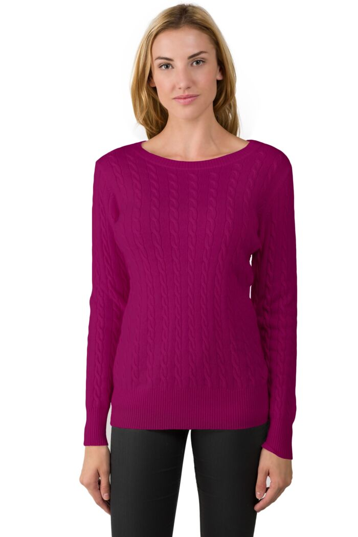 Berry Cashmere Cable-knit Crewneck Sweater