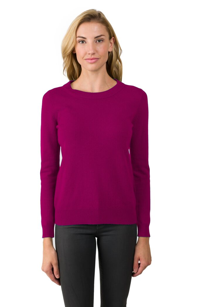 Berry Cashmere Crewneck Sweater Front View