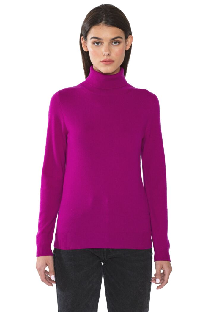 Berry Cashmere Long Sleeve Turtleneck Sweater