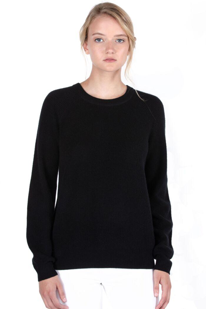 JENNIE LIU Women's 100% Pure Cashmere Raglan Sleeve Extra-Cozy-Rib Crew Neck Sweater
