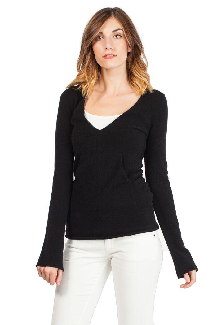 Black Cashmere Long Sleeve V Neck Hoodie
