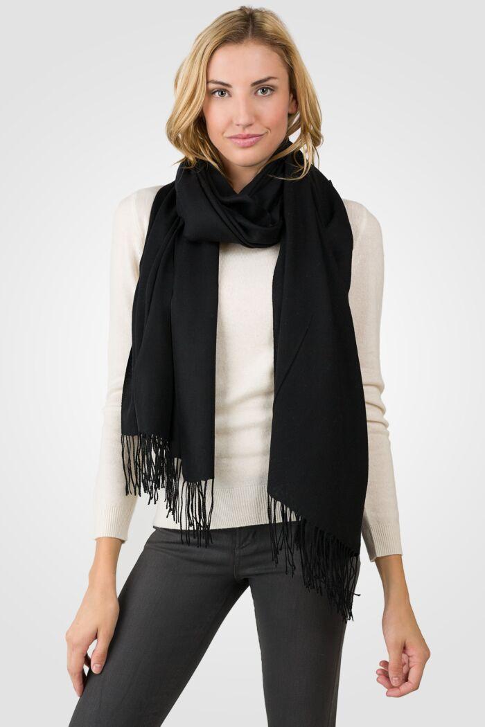 Black Tissue Weight Wool Cashmere Wrap