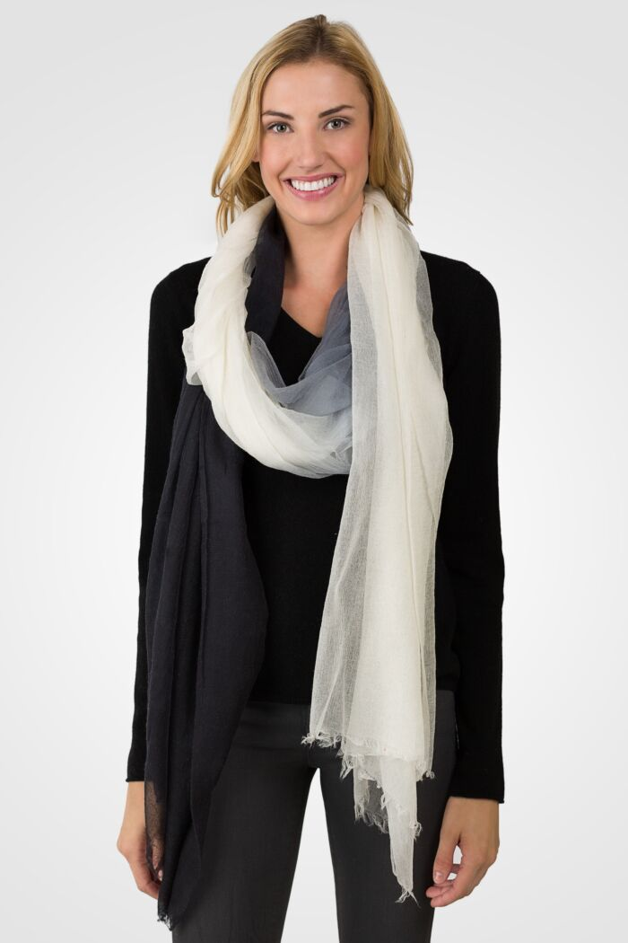 Black/white Ombre Tissue Weight Air Cashmere Shawl Wrap