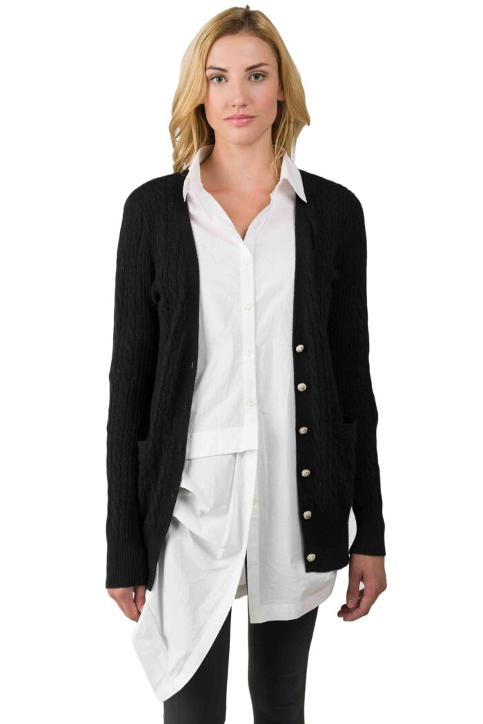 Black Cashmere Cable-knit V-neck Long cardigan Sweater front view