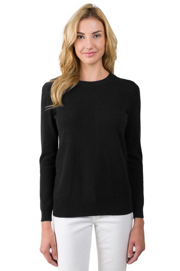 Black Cashmere Crewneck Sweater front view