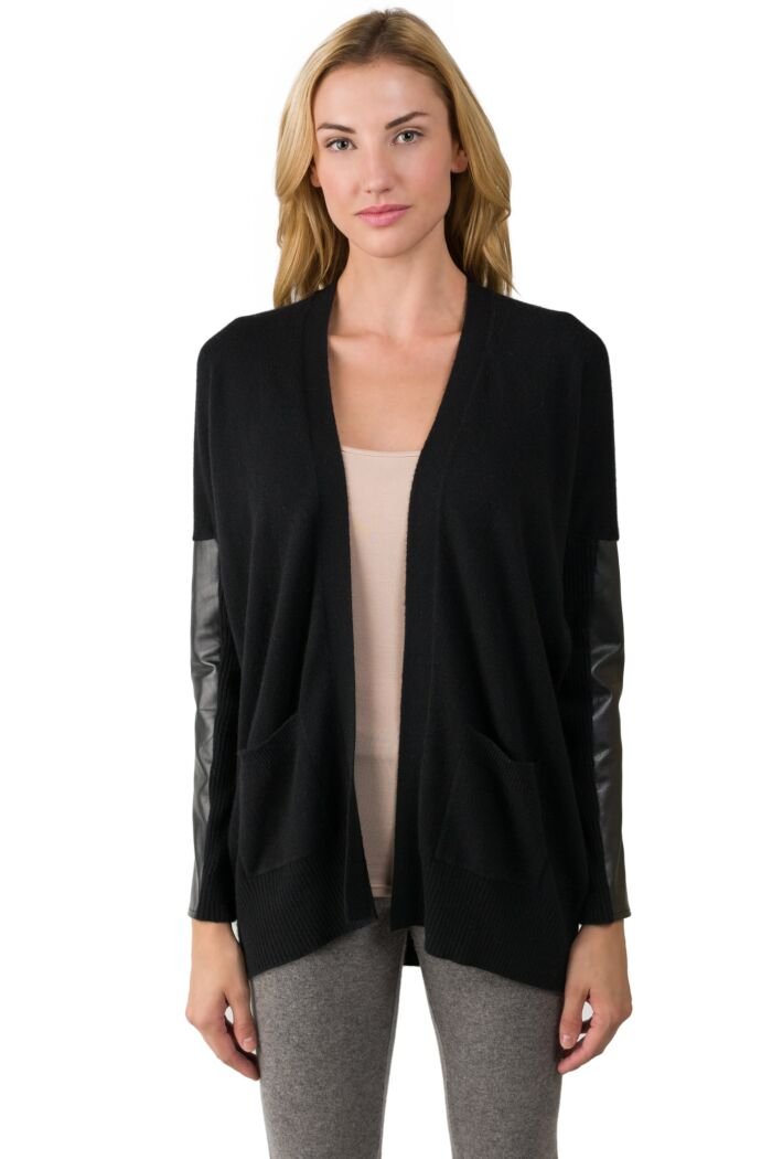 Black Cashmere Dolman Cardigan Tunic Sweater front view