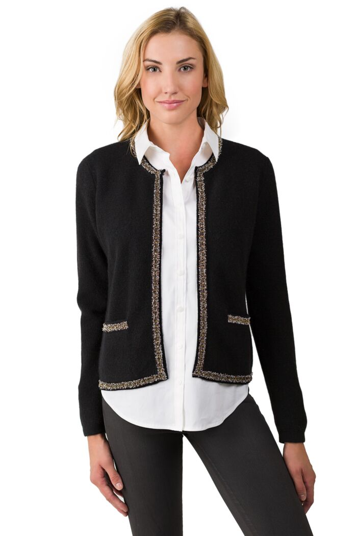 Black Cashmere Lace-trim Crop Cardigan Sweater front view