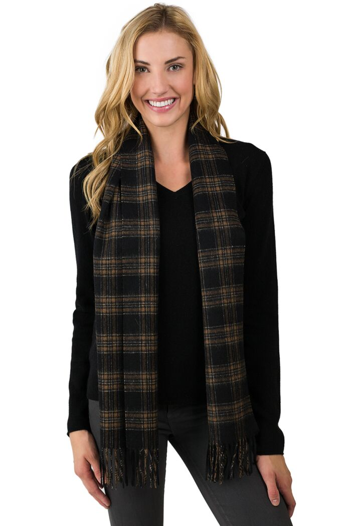 Black Plaid Watermark Cashmere Blend Woven Scarf front view