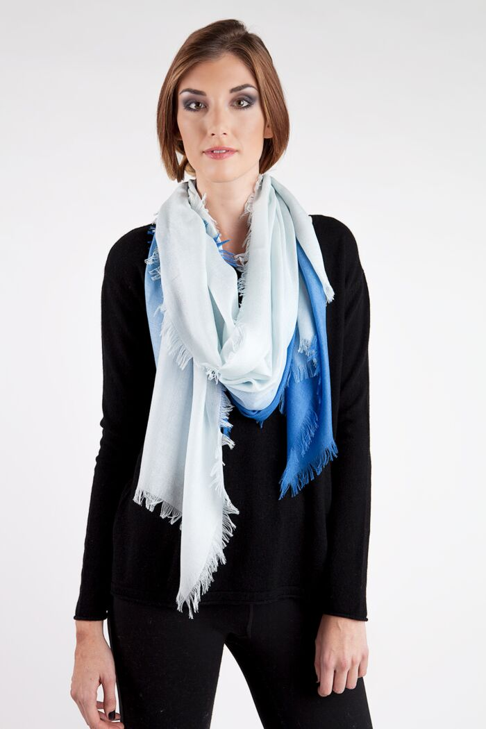 Blue Ombre Tissue Weight Silk Cashmere Shawl Wrap