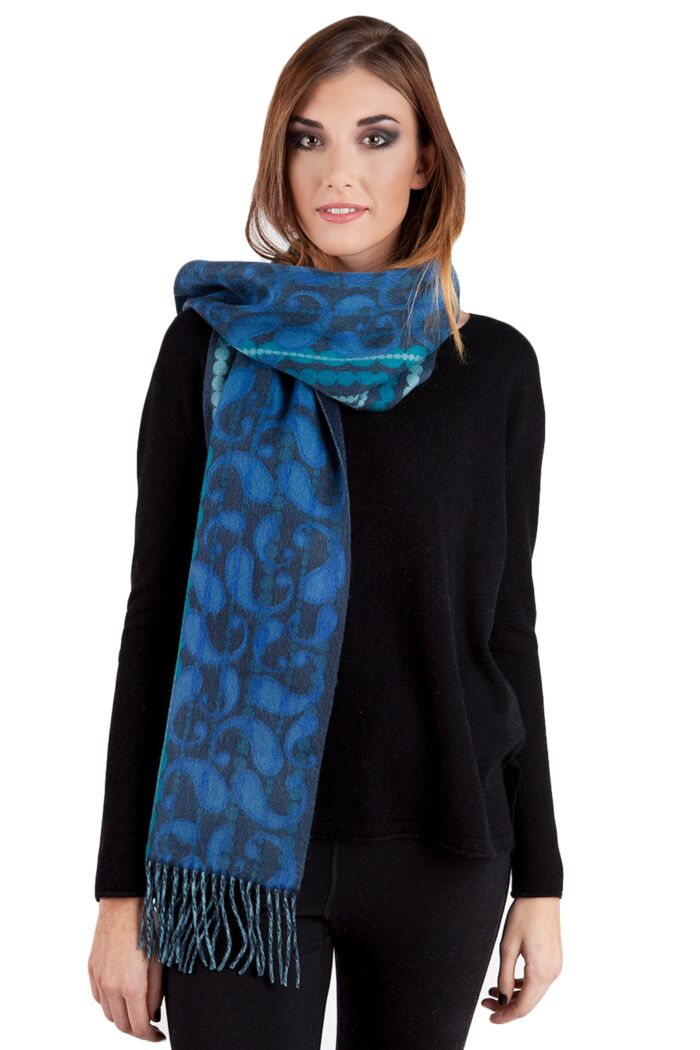 Blue Paisley Printed Woven Cashmere Scarf