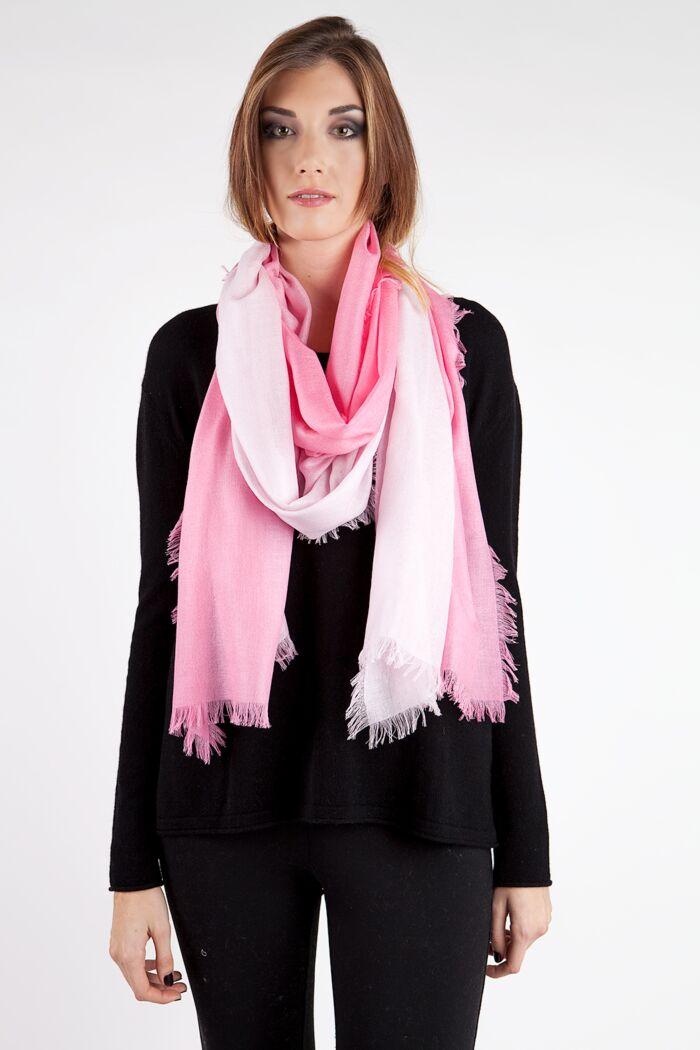 Blush Ombre Tissue Weight Silk Cashmere Shawl Wrap