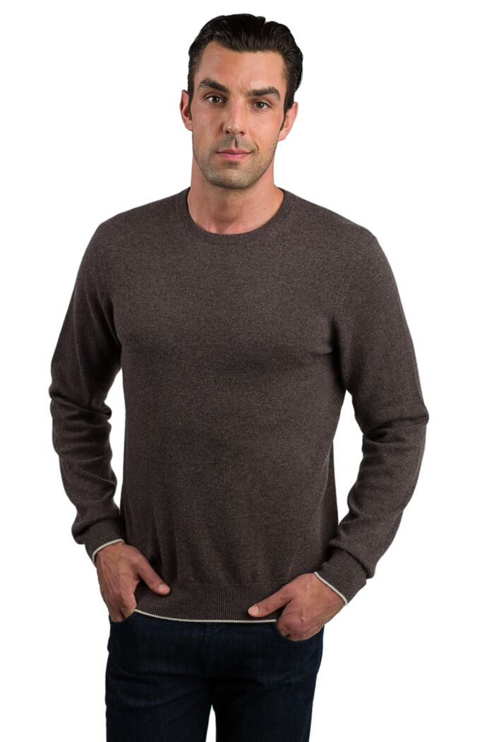 Brown Men's 100% Cashmere Long Sleeve Pullover Crewneck Sweater Front View