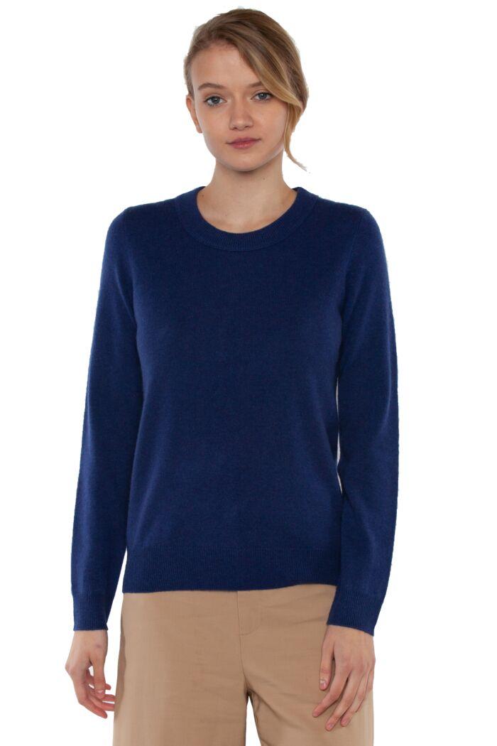 JENNIE LIU Women's 100% Pure Cashmere Long Sleeve Crew Neck Sweater(S