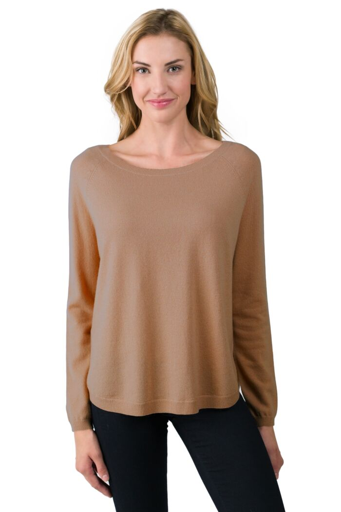 Camel Cashmere Boatneck Raglan Sweater