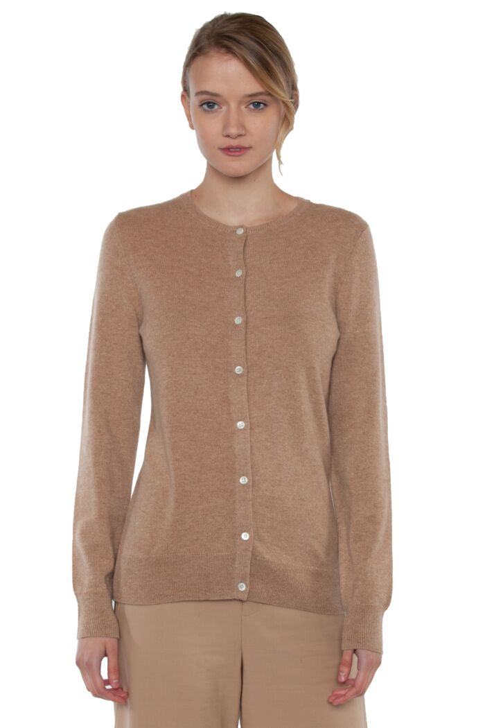 Camel Cashmere Button Front Cardigan Sweater
