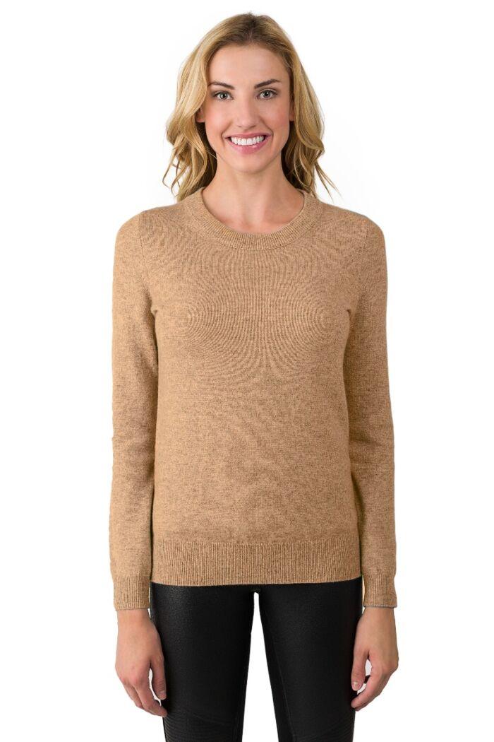 Camel Cashmere Crewneck Sweater
