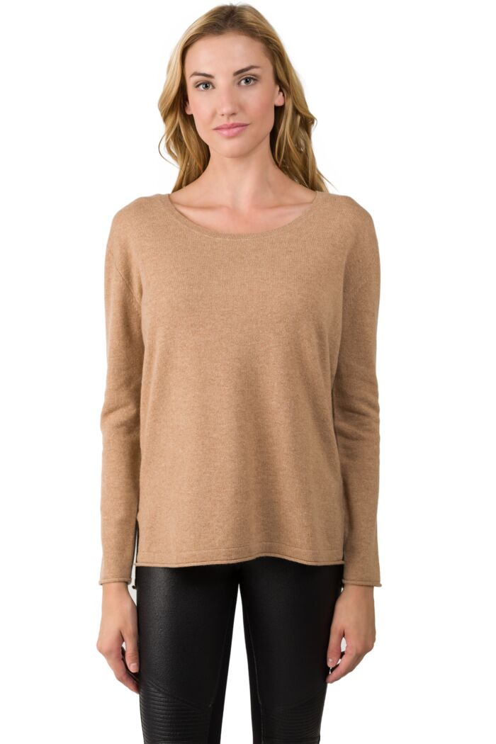Camel Heather Cashmere High Low Sweater-S