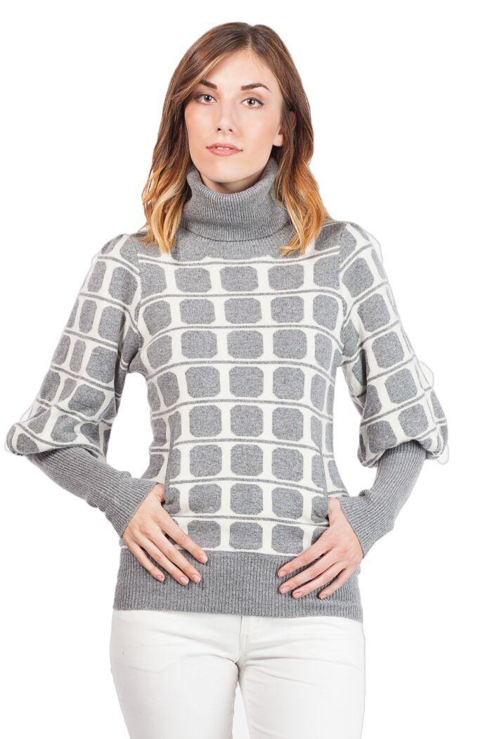 Cashmere Double Layered Intarsia Cashmere Turtle Neck Sweater