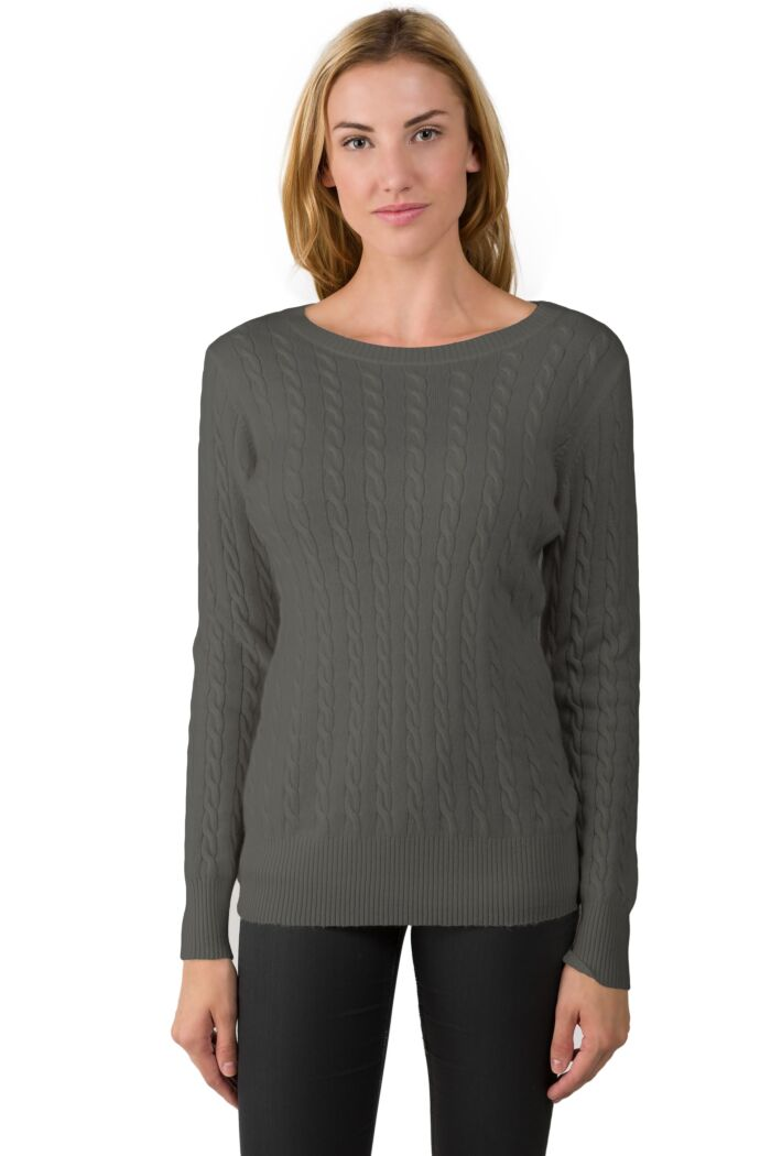 Charcoal Cashmere Cable-knit Crewneck Sweater