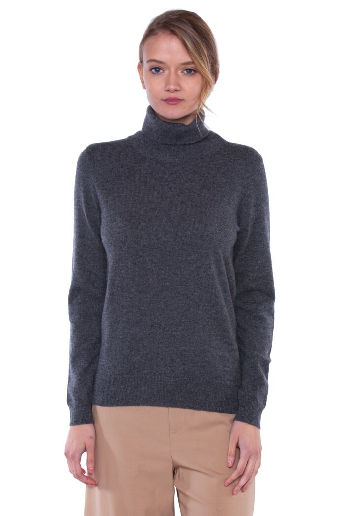 Charcoal Cashmere Long Sleeve Turtleneck Sweater