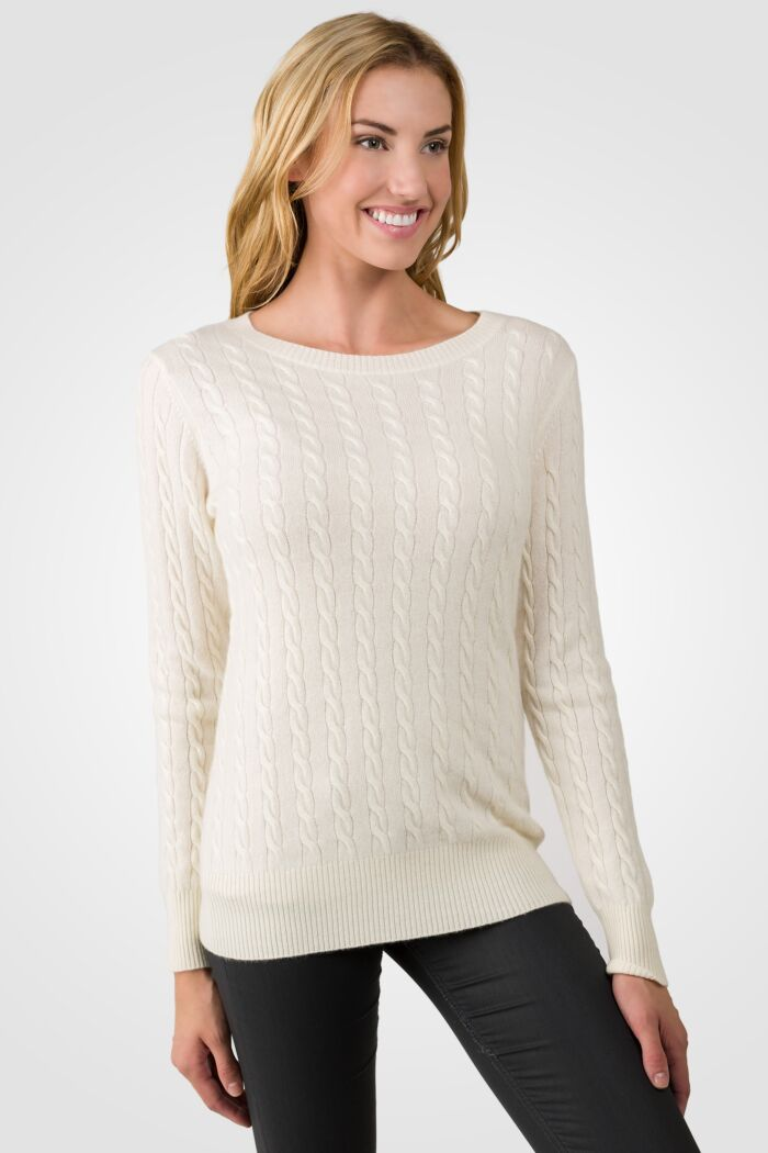 Cream Cashmere Cable-knit Crewneck Sweater right side view