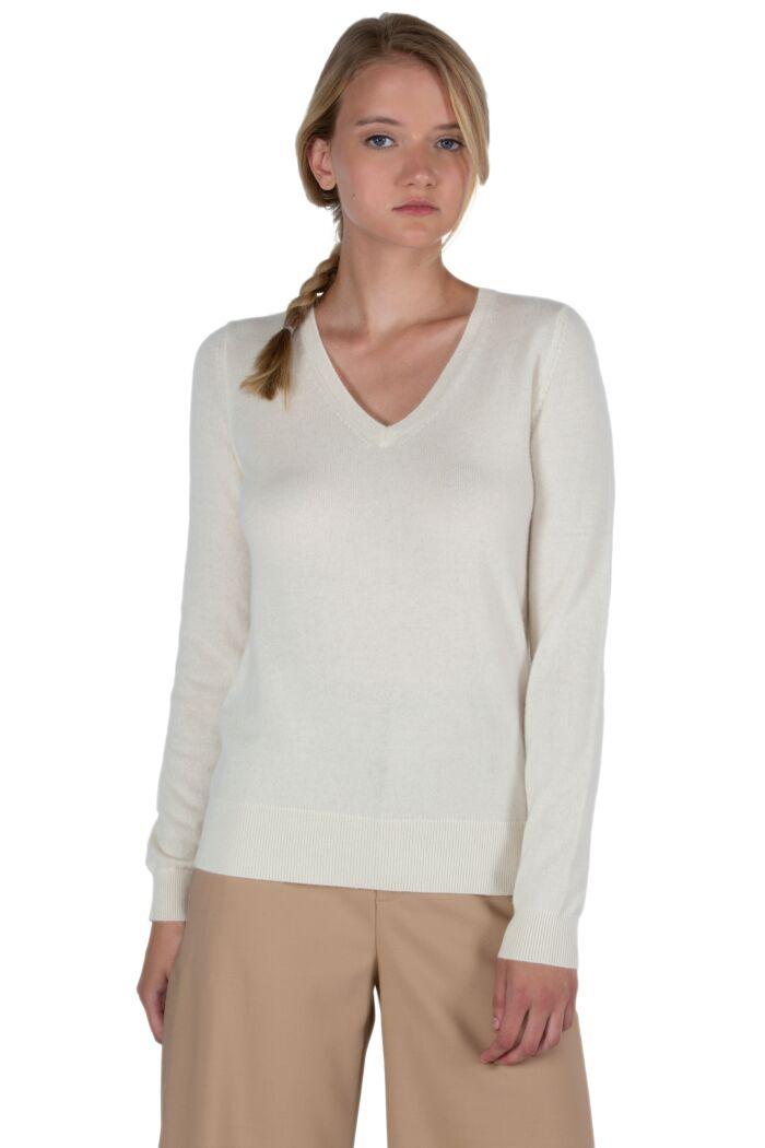 JENNIE LIU Women's 100% Pure Cashmere Long Sleeve Pullover V Neck Sweater(M, Cream)