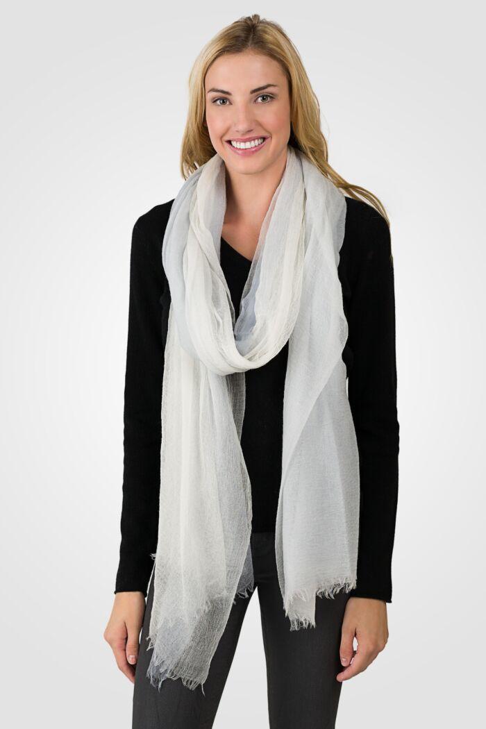Cream Tissue Weight Air Cashmere Shawl Wrap