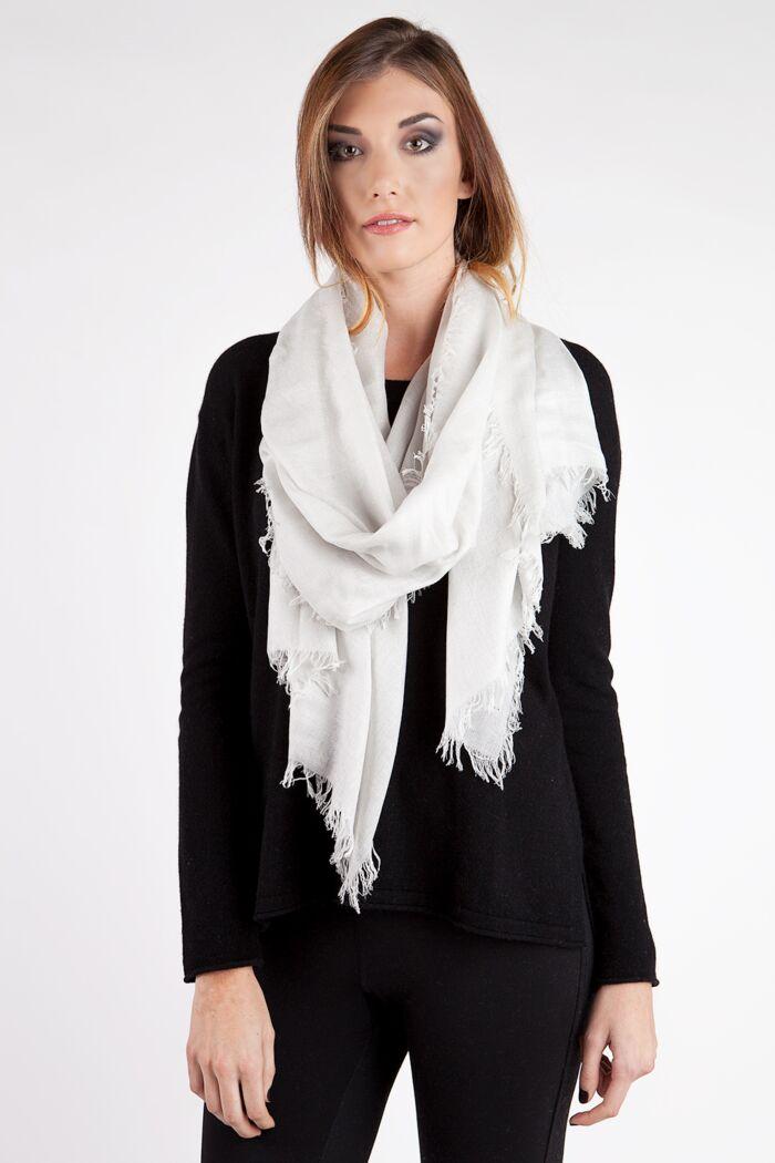 Cream Tissue Weight Silk Cashmere Shawl Wrap