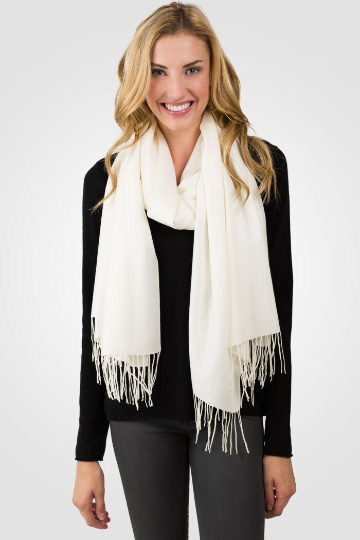 Cream Tissue Weight Wool Cashmere Wrap front view