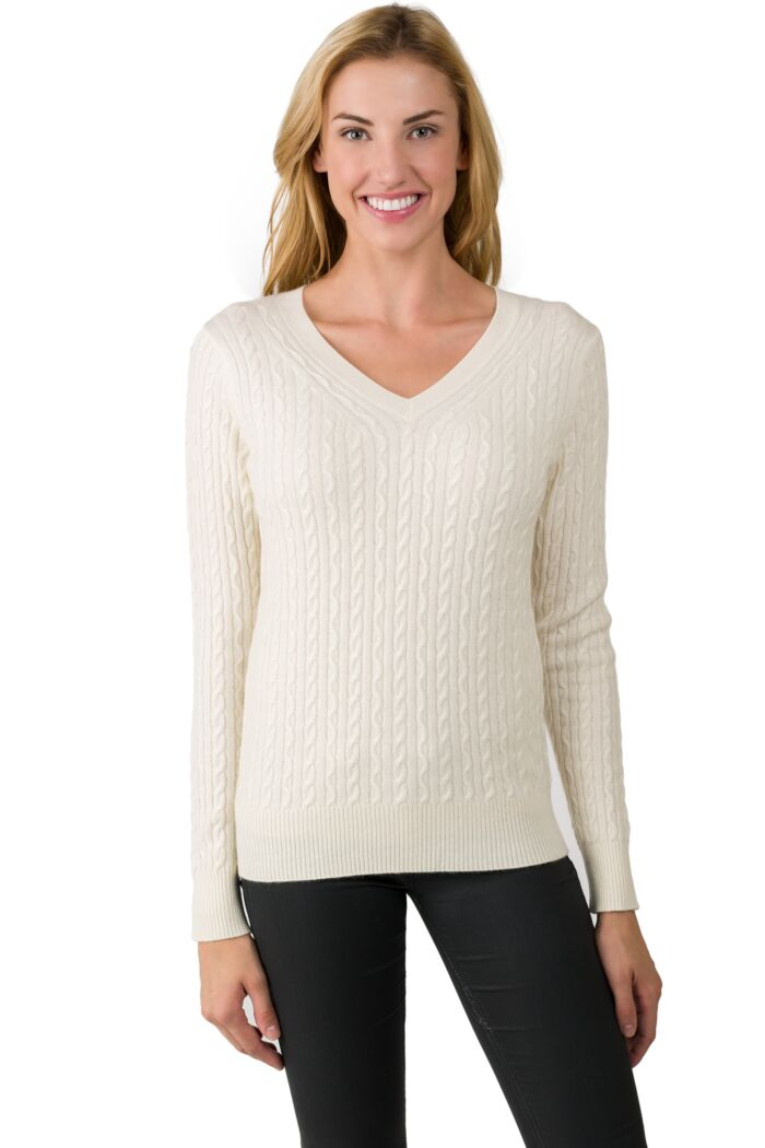 Cream Cashmere Cable-knit V-neck Sweater front view