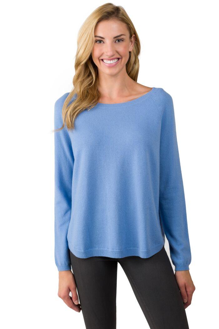 Crystal Blue Cashmere Boatneck Raglan Sweater front view