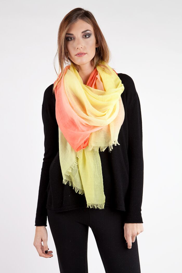 Gold Ombre Tissue Weight Air Cashmere Shawl Wrap
