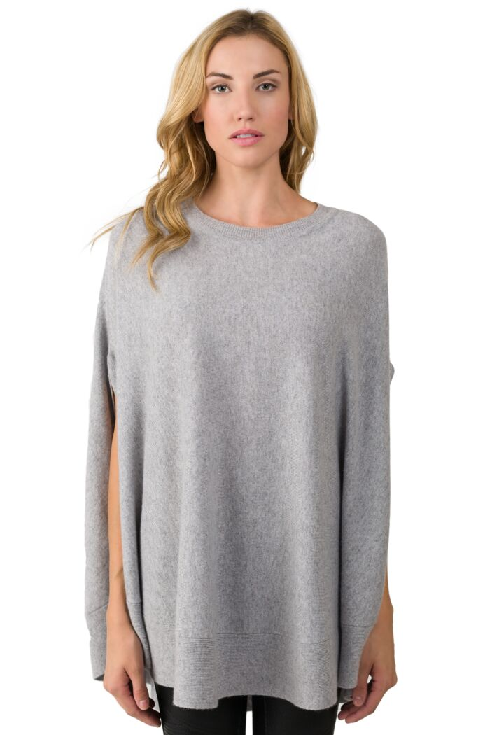 Gray Cashmere Oversized Laid-back Poncho Sweater front view
