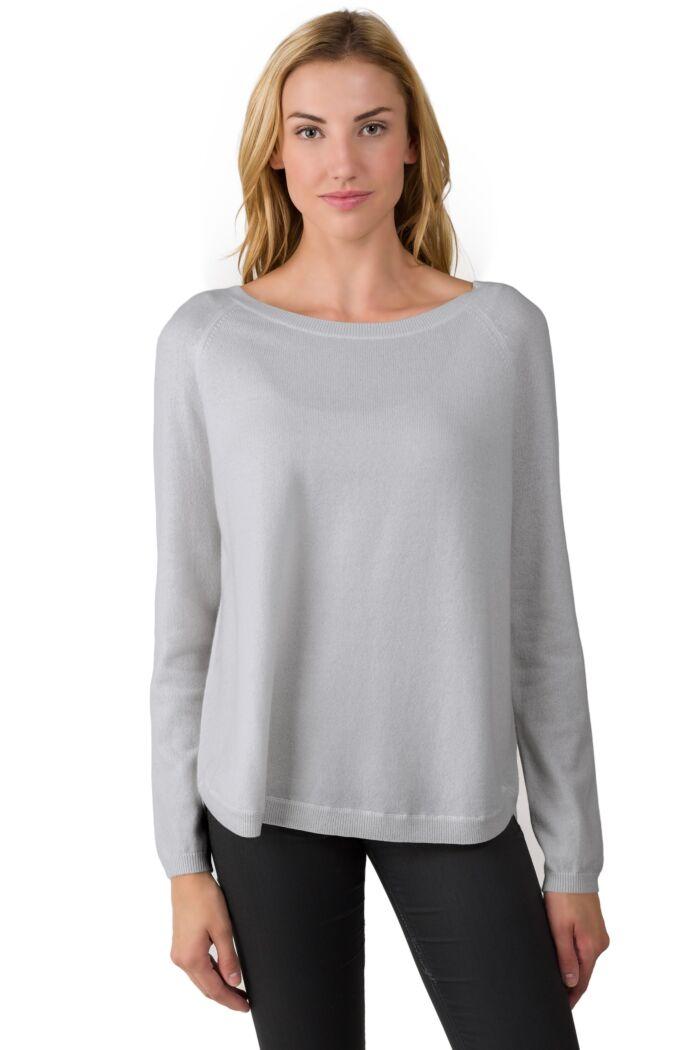 Grey Cashmere Boatneck Raglan Sweater
