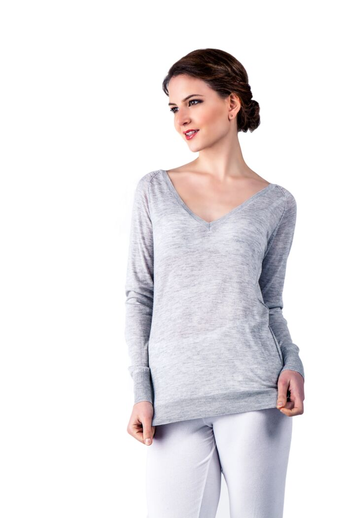 Grey Cashmere Silk Long Sleeve Feather Weight V Neck Shirt Tee Front View