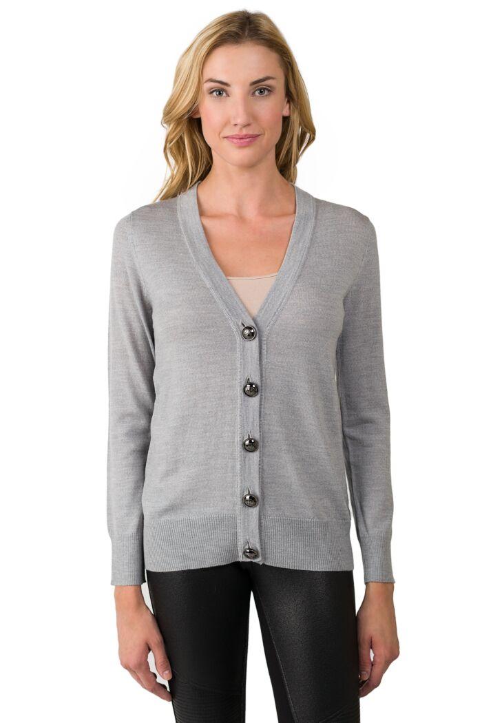 Grey Merino Wool Long Sleeve V Neck Cardigan Sweater Front View