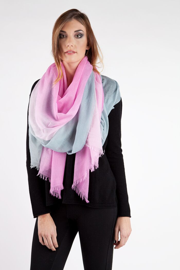 Grey Ombre Tissue Weight Air Cashmere Shawl Wrap