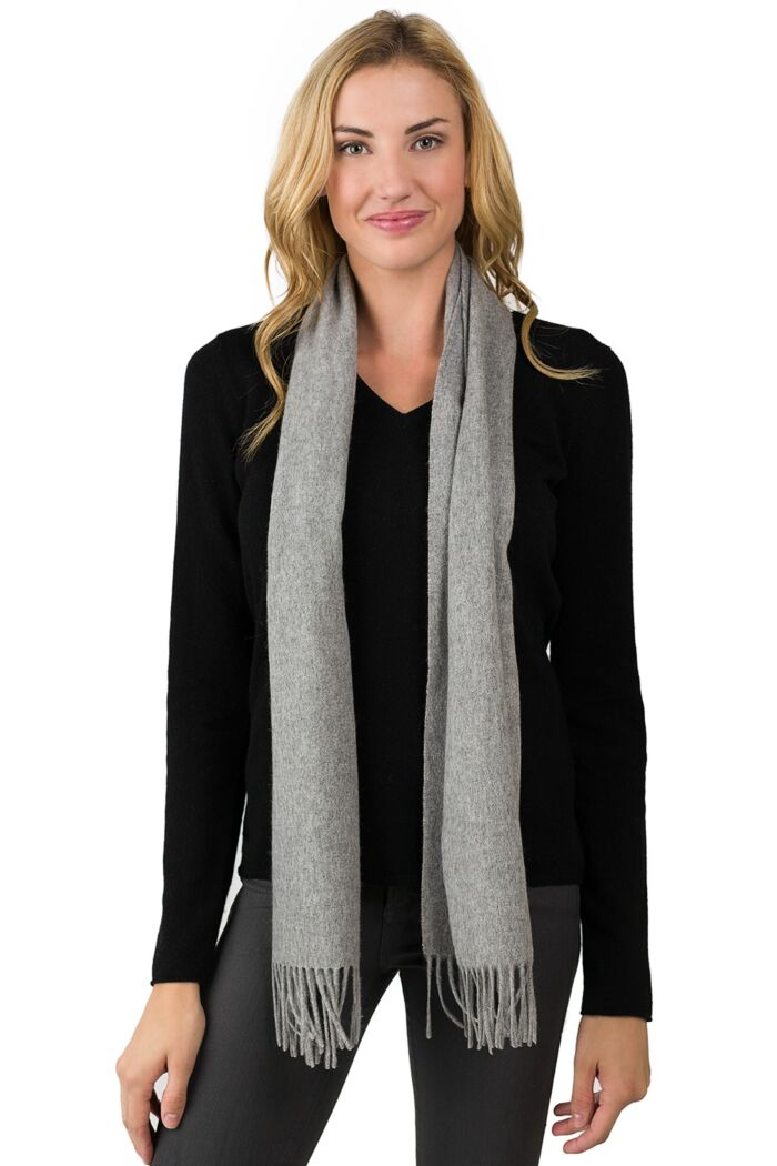 Grey Watermark Cashmere Blend Woven Scarf